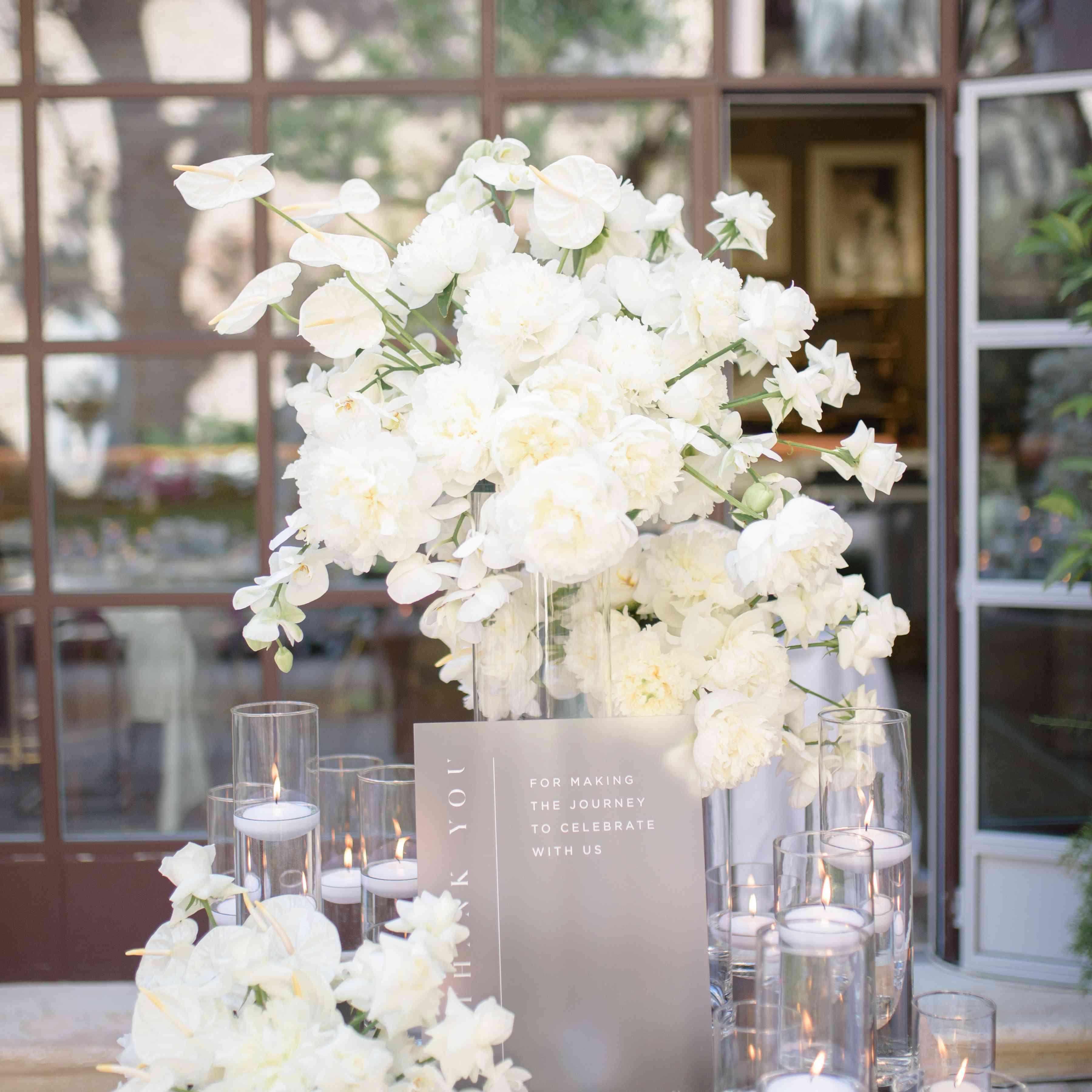 modern venice wedding, white rehearsal dinner flowers