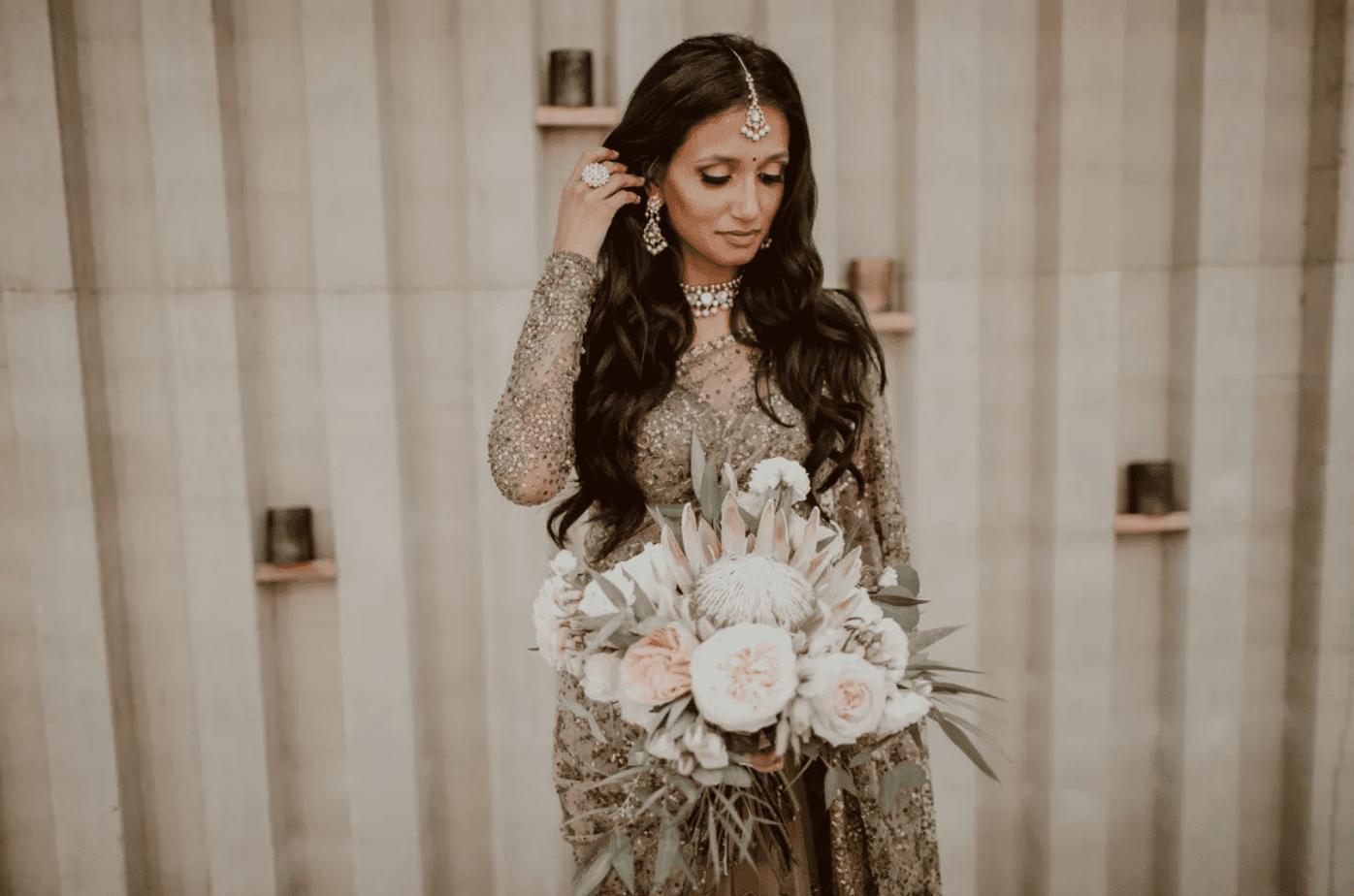 bride wearing traditional indian wedding attire