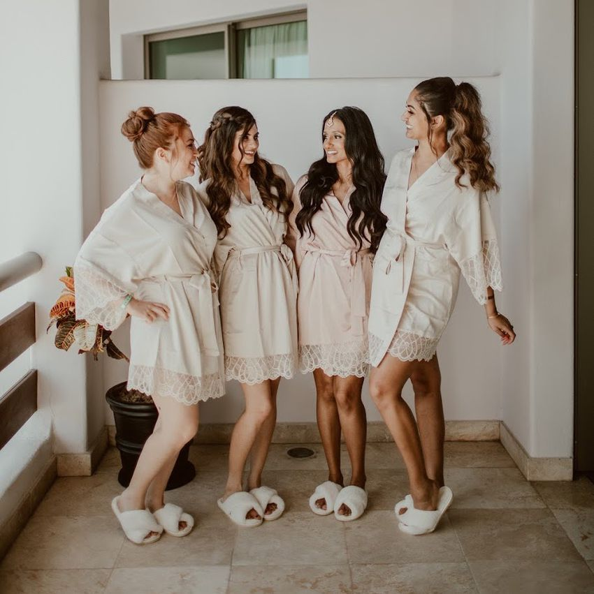 bridal party wearing slippers