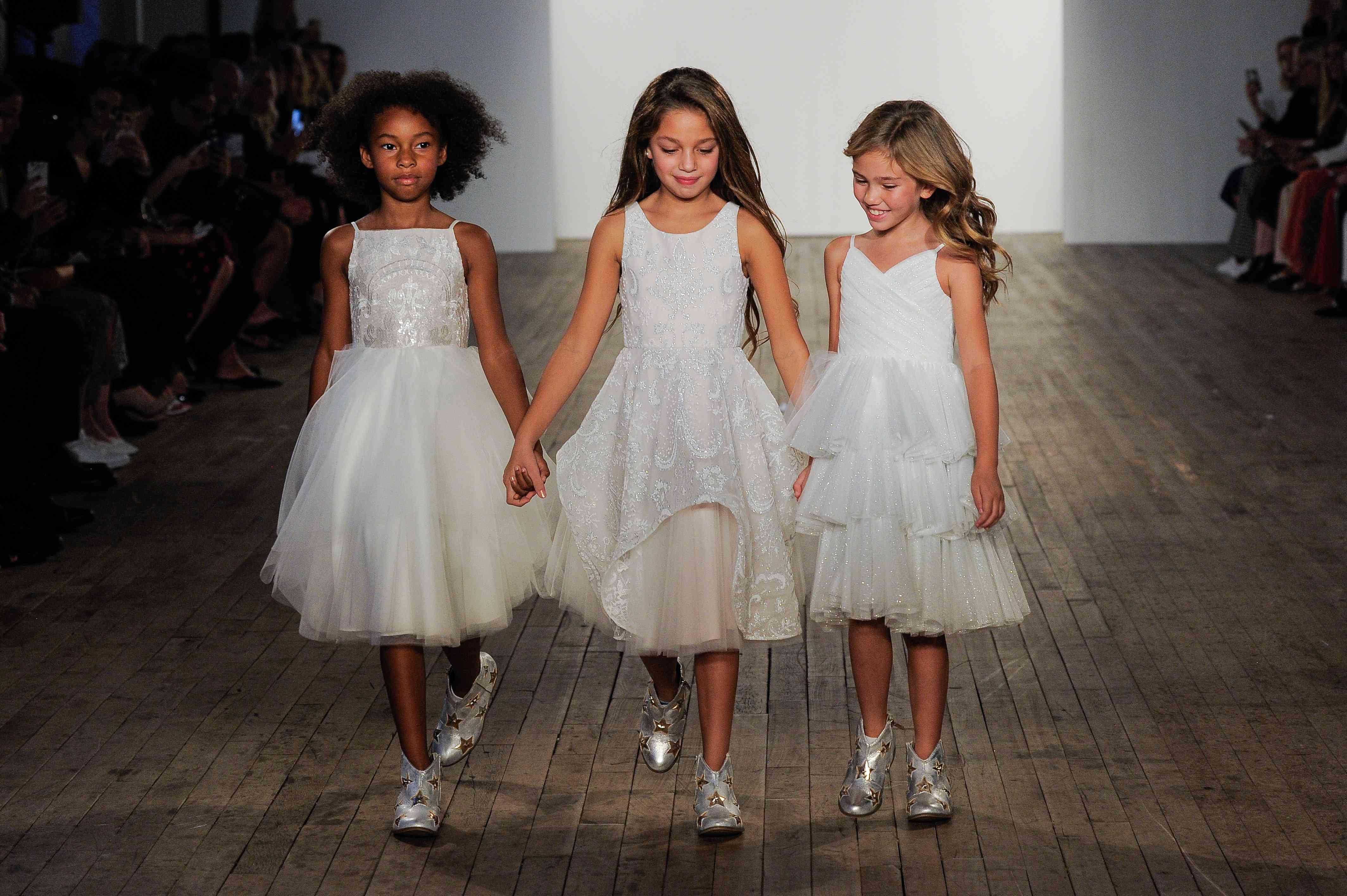 Dinah, Maven, and Della flower girl dresses
