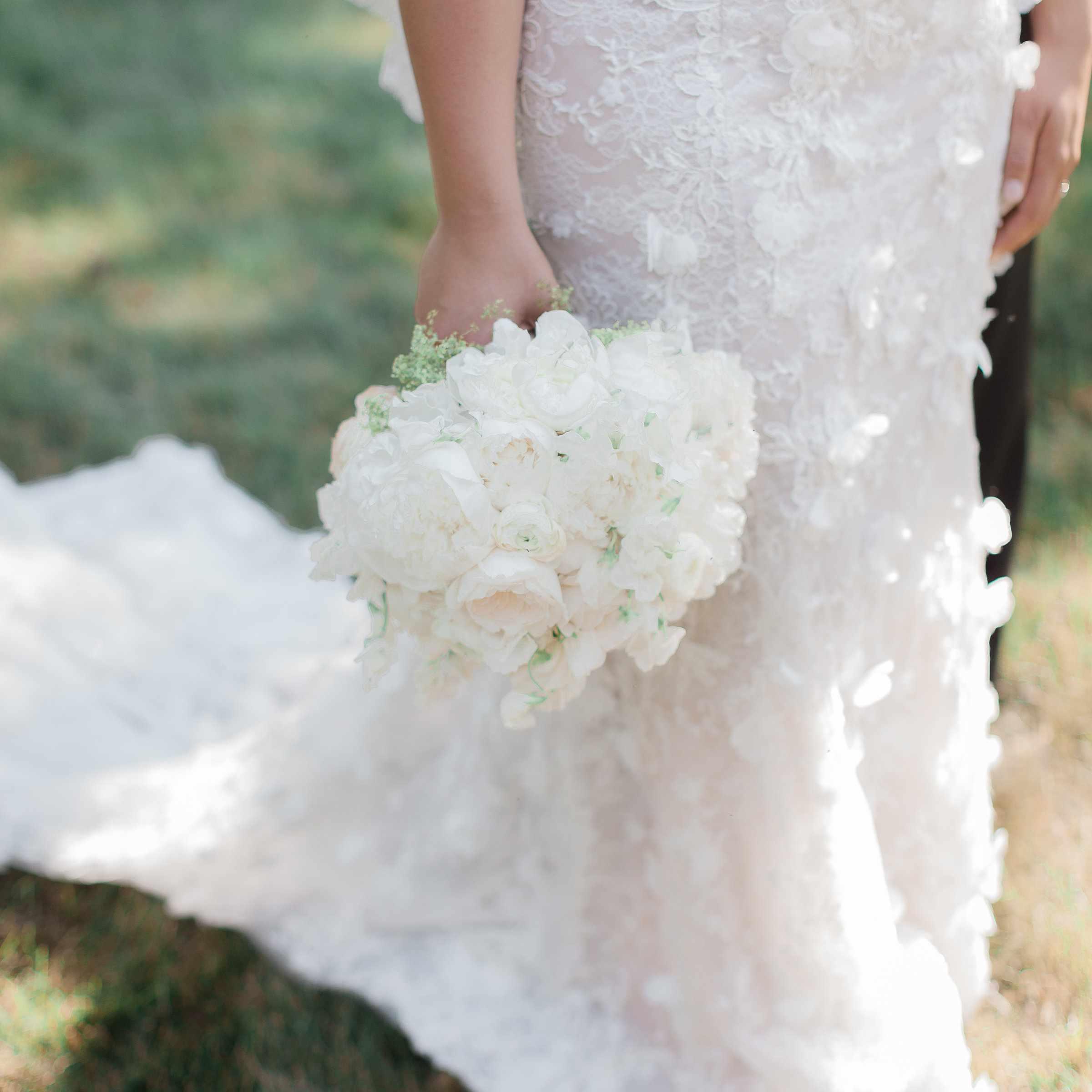 bride wedding dress bouquet
