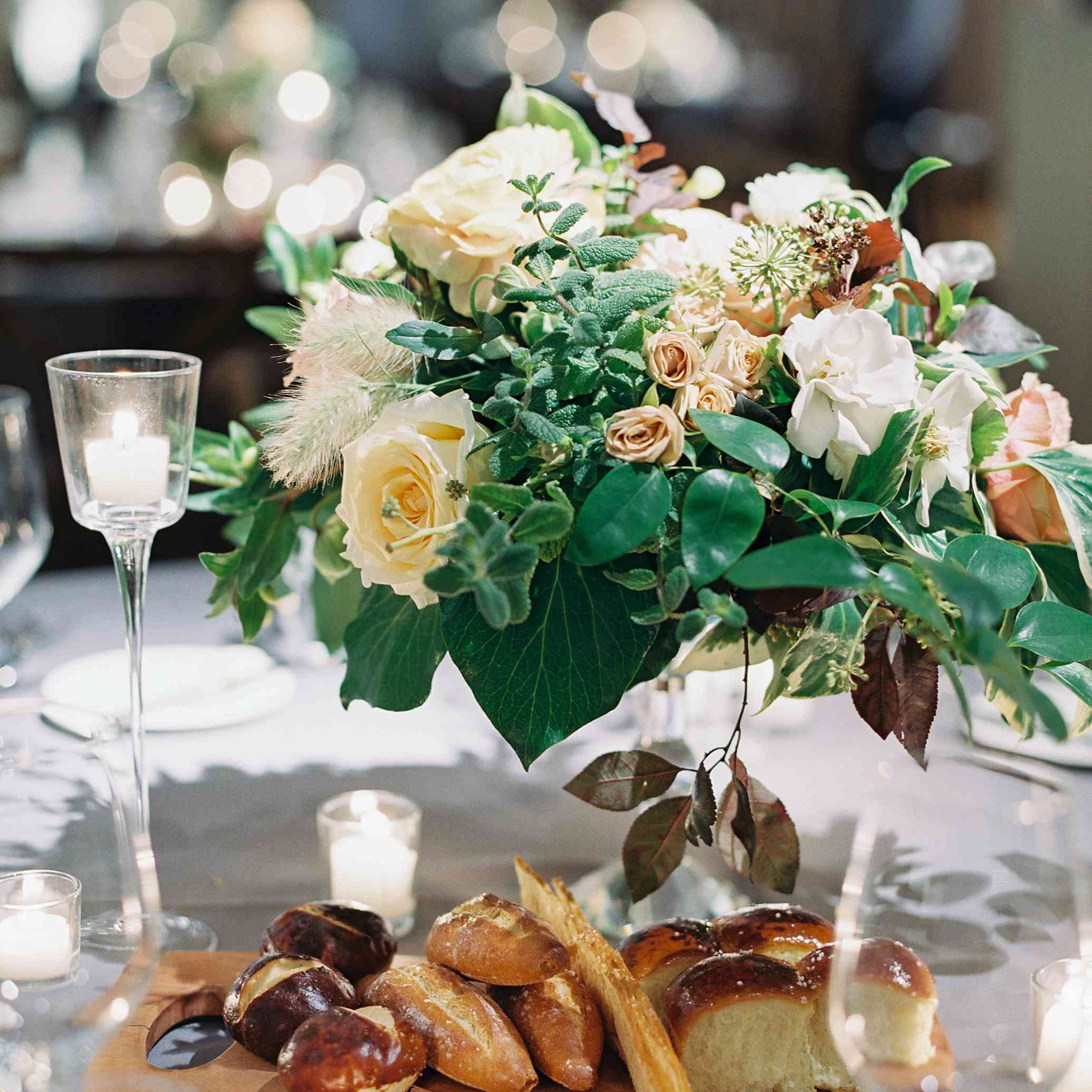 bread for the table and floral centerpieces
