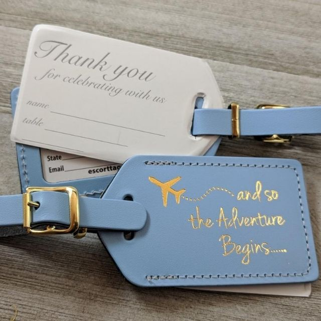 """Escort Tags """"And So the Adventure Begins"""" Luggage Tags"""