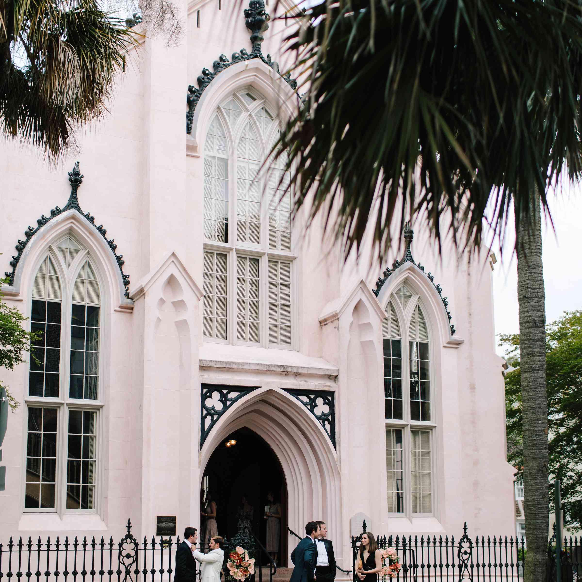 light pink wedding church
