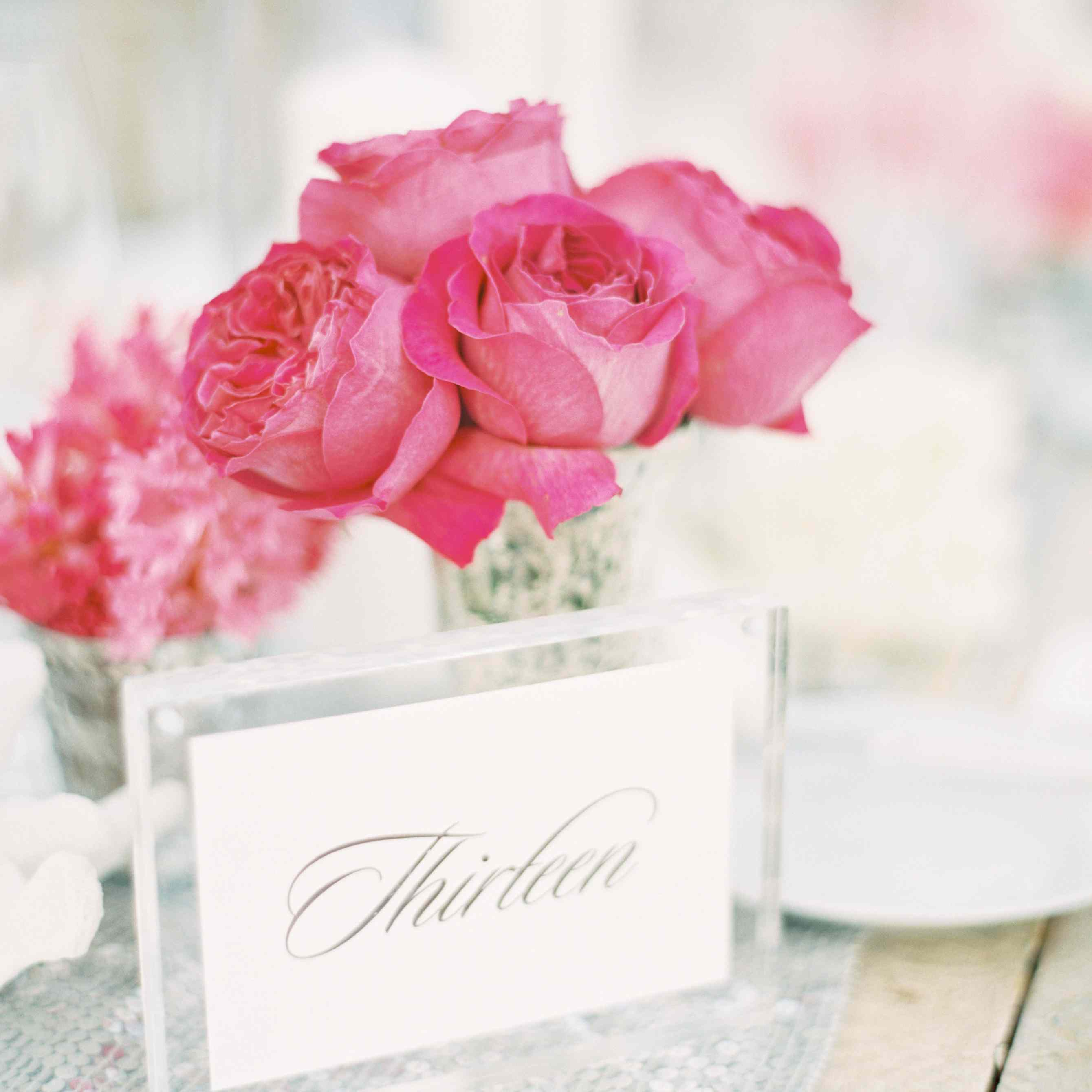 Pink Roses and Table Numbers
