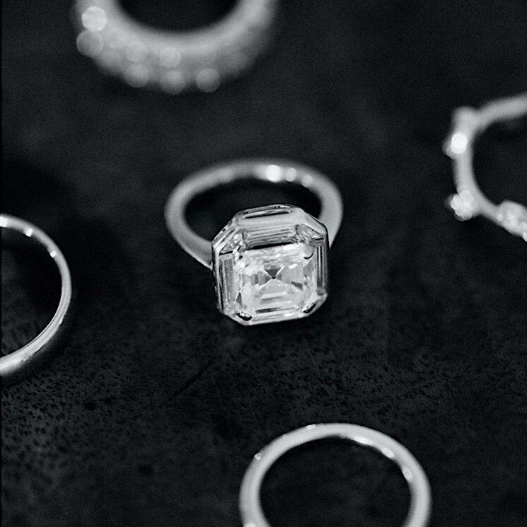 Asshcher-cut diamond engagement ring