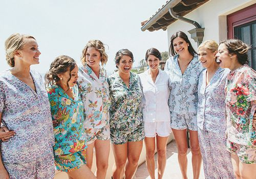 bridal party in pajamas outside