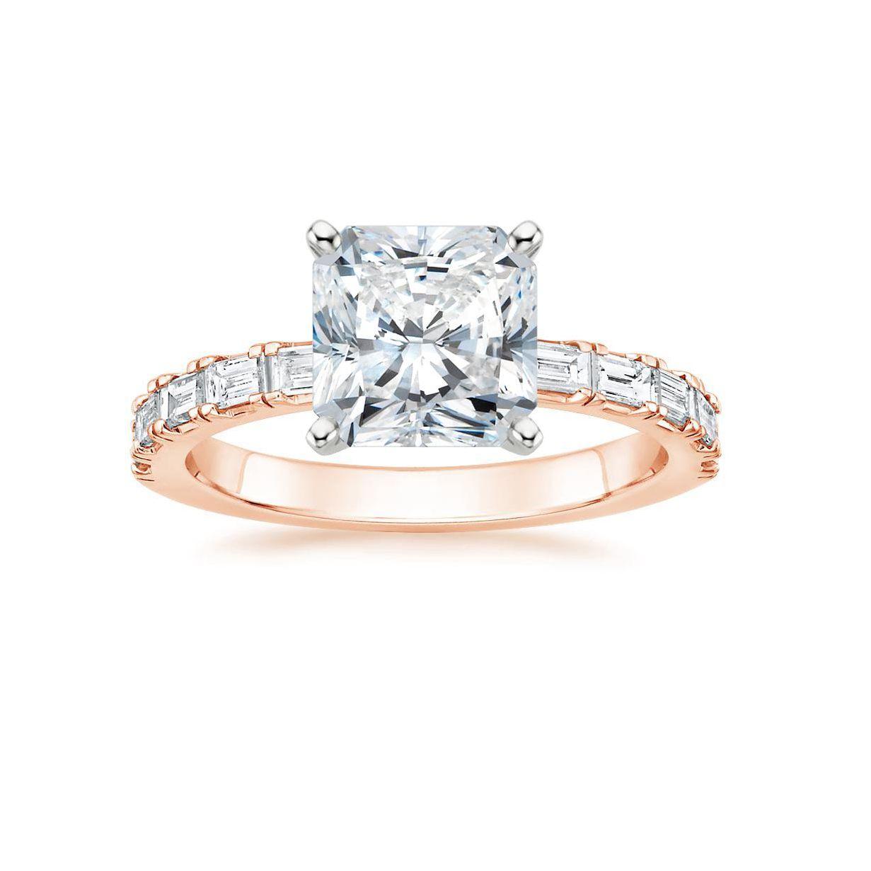 2 CT diamond halo engagement wedding ring band set 14k rose gold antique bridal