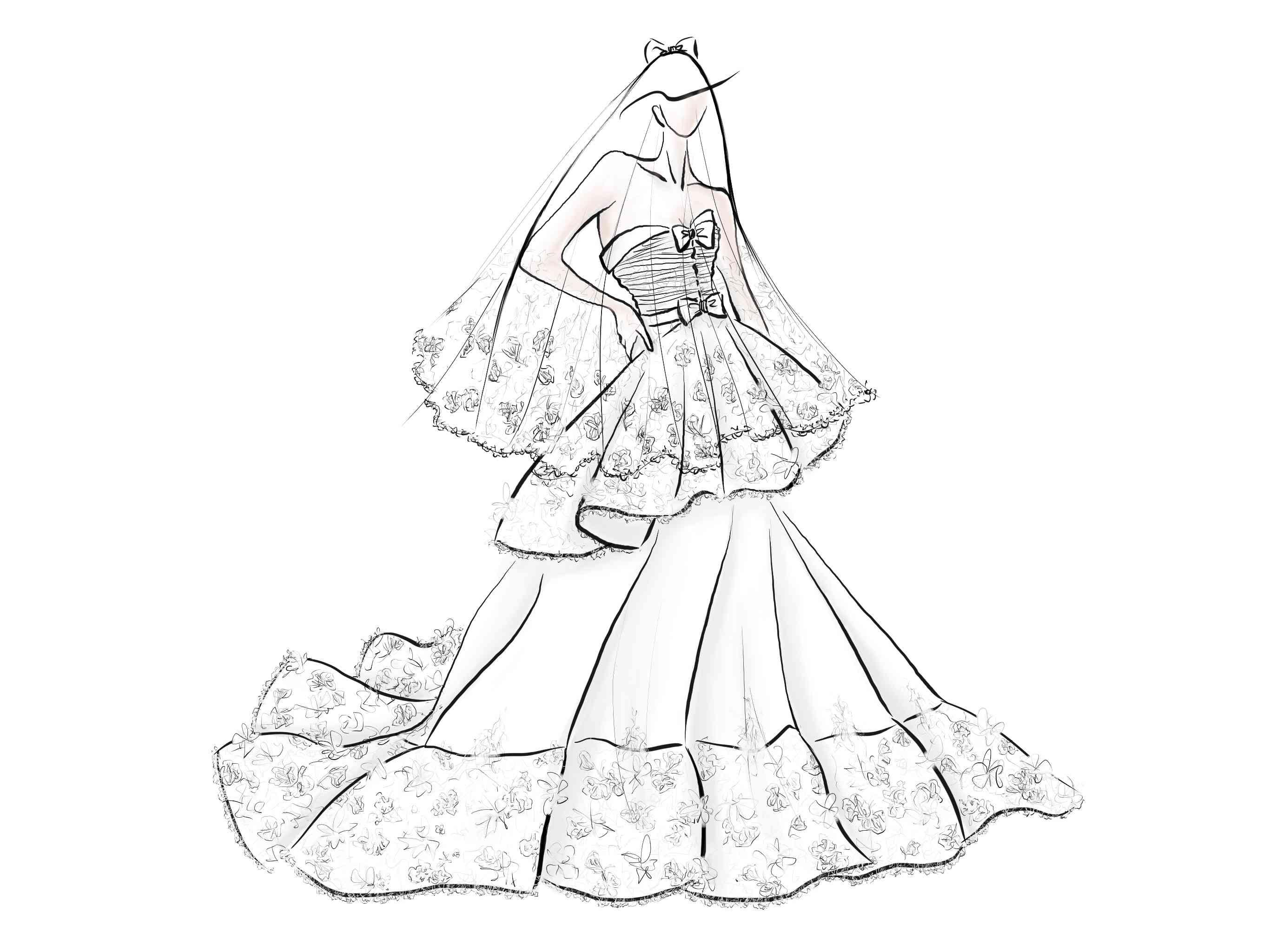 Sébastien Luke Bridal Fashion Week Fall 2020 Sketch