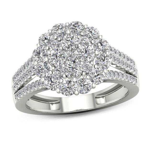 Zales Composite Diamond Frame Ring in 14K White Gold