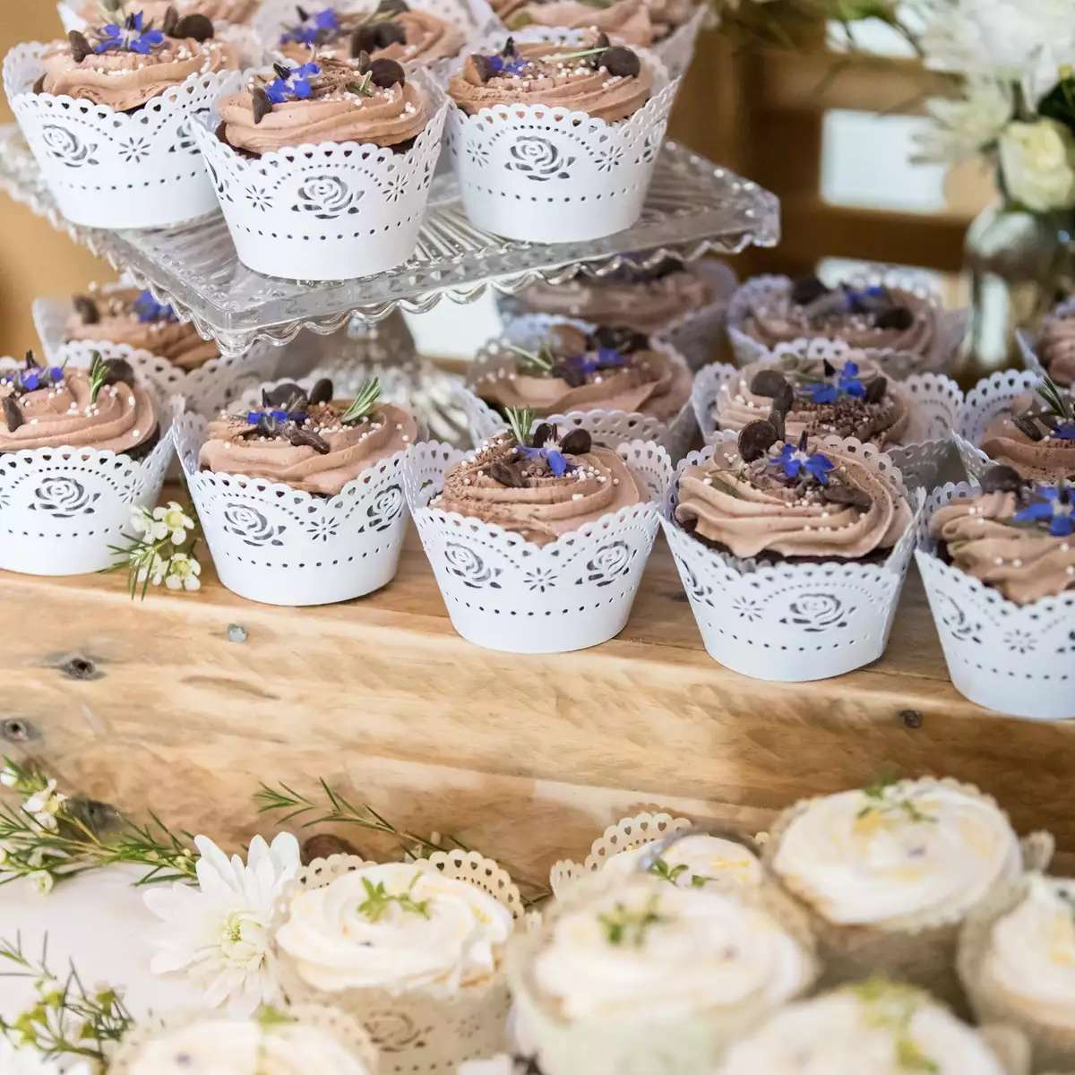 cupcakes with lace wrappers