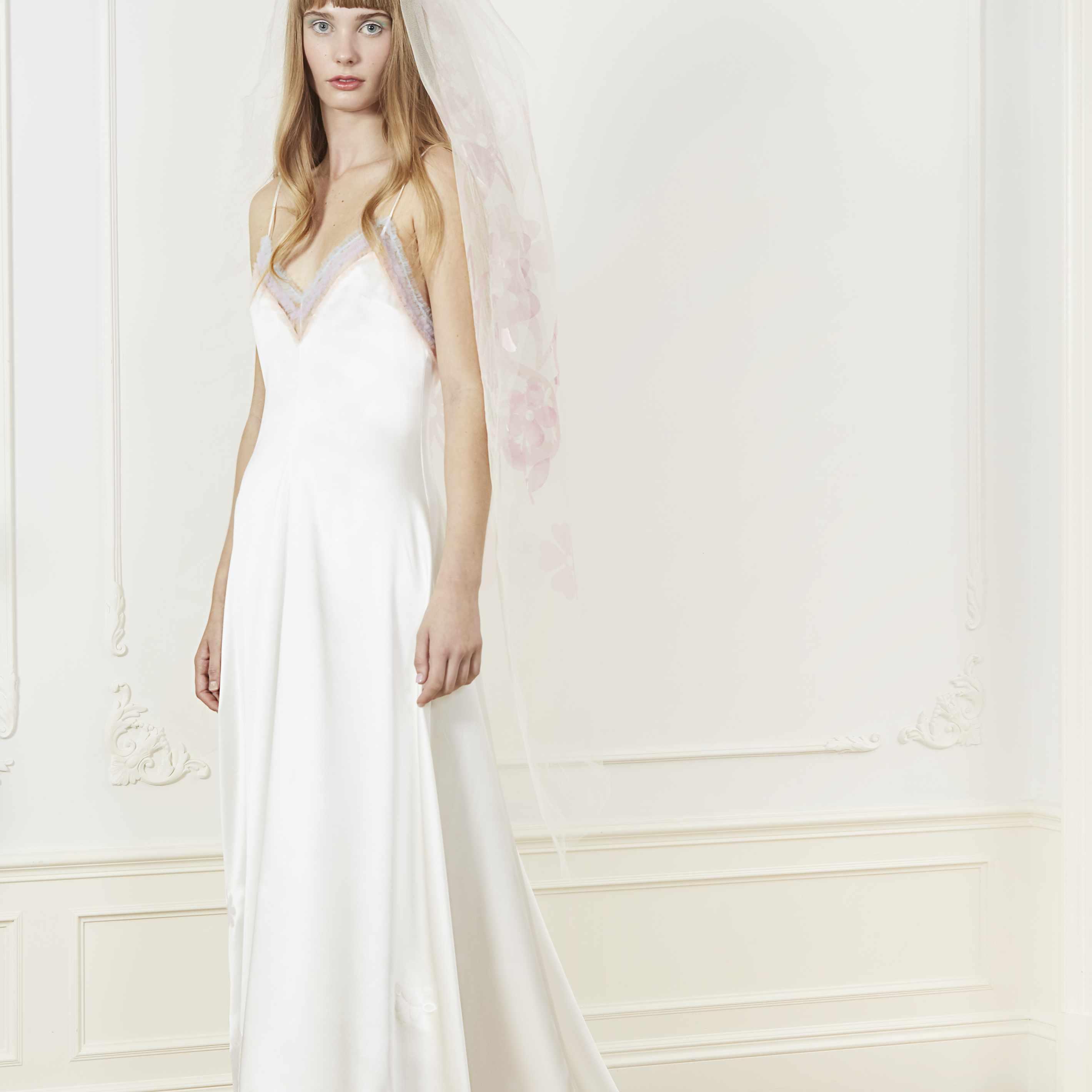 Model in silk slip wedding dress