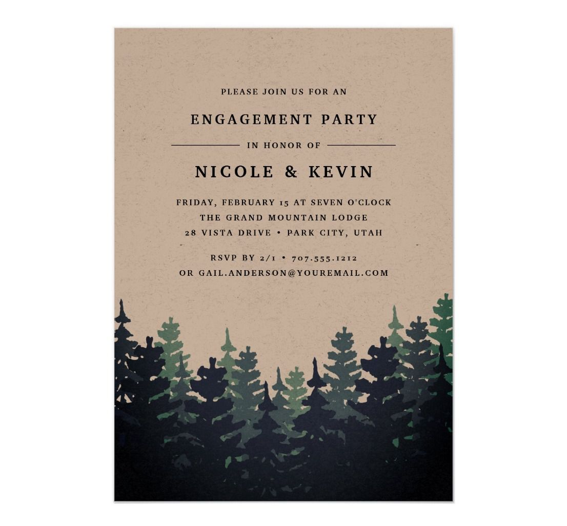 Brown paper engagement party invitation with tree