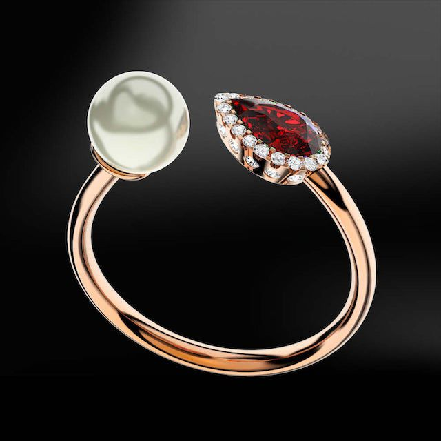 pear-shaped ruby and pearl ring