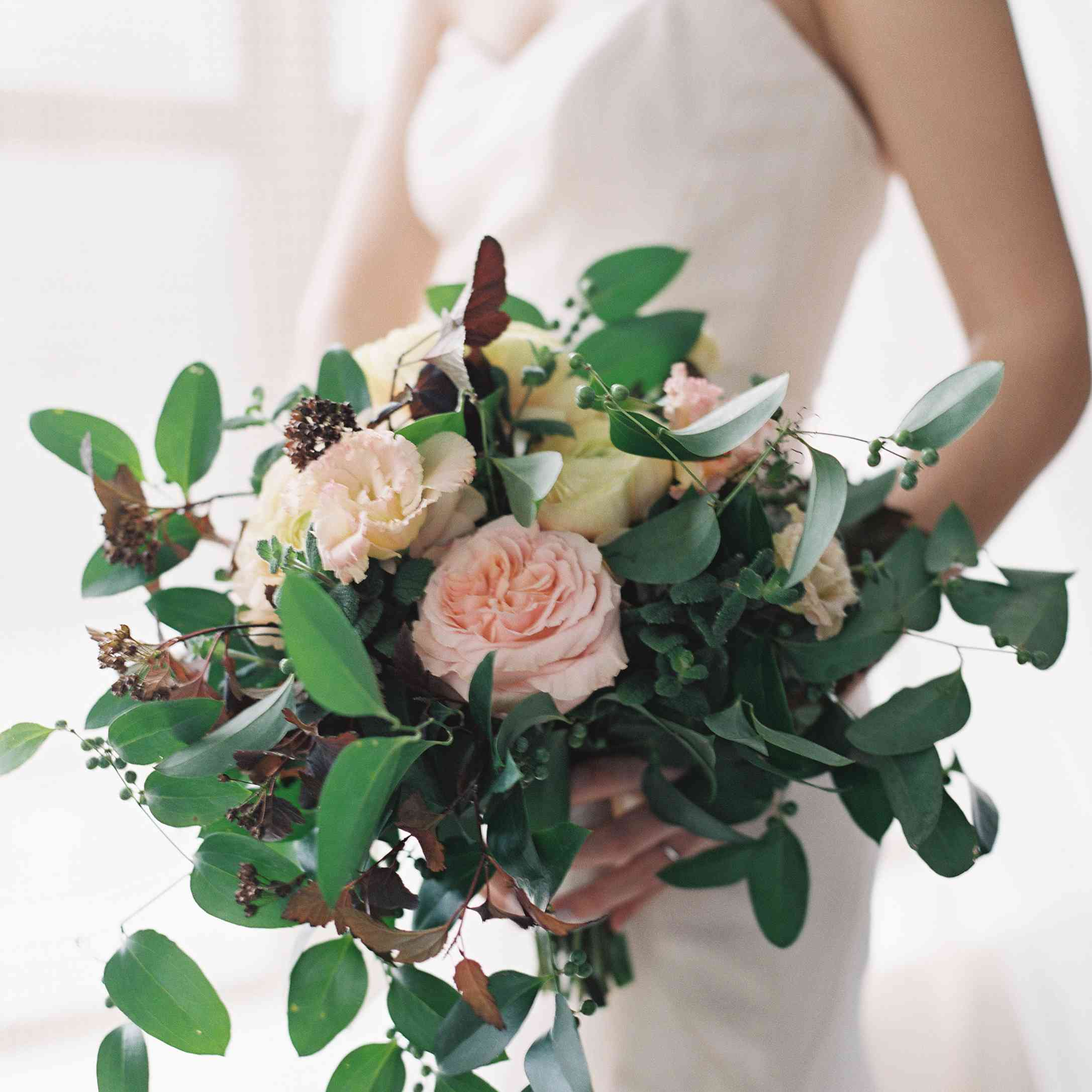 soft pink roses and greenery bridal bouquet