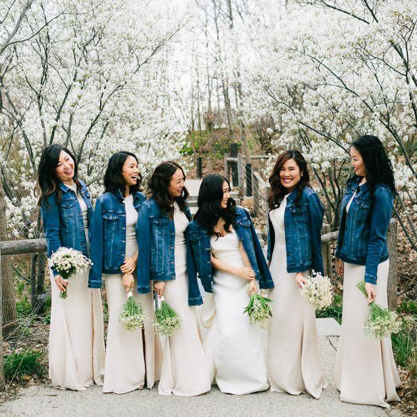 Bridal party wearing jean jackets
