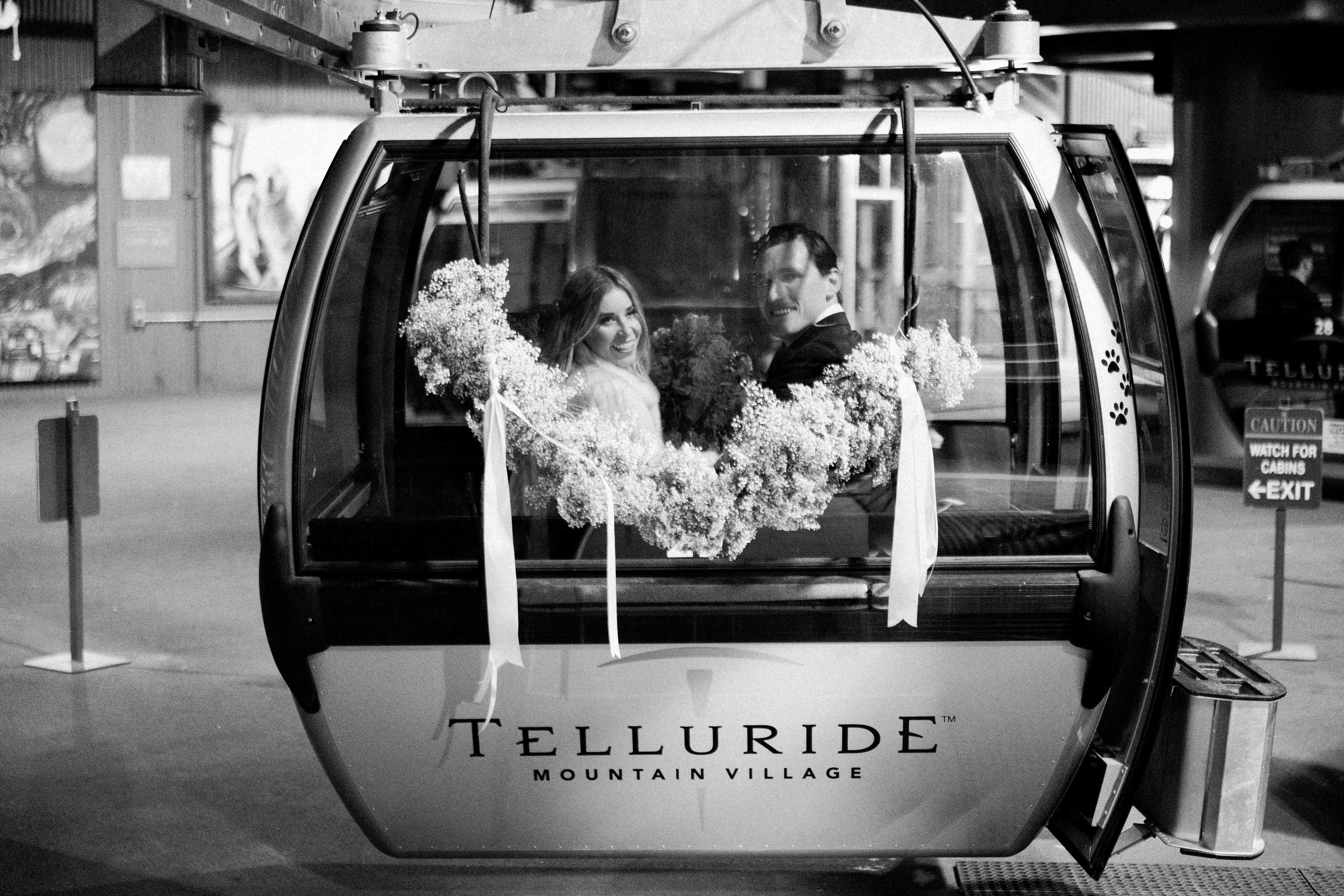 A gondola exit with bride and groom