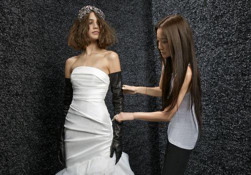Vera Wang styling a wedding dress