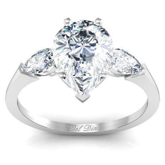DeBebians Pear Three Stone Engagement Ring