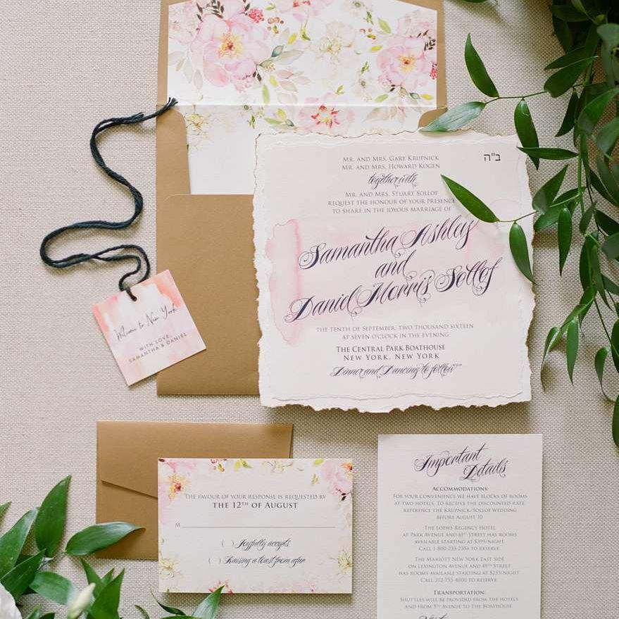elegant watercolor wedding invitation suite
