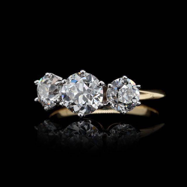 Long's Two-Tone 3 Stone Old European Cut Diamond Ring
