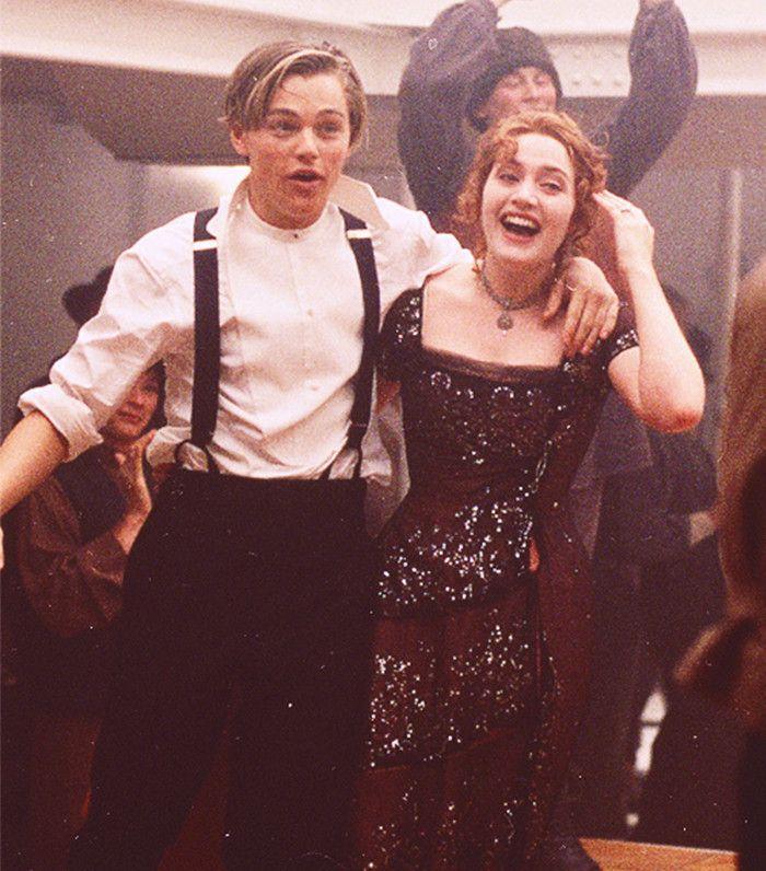 Leonardo DiCaprio and Kate Winslet dance in a scene from Titanic