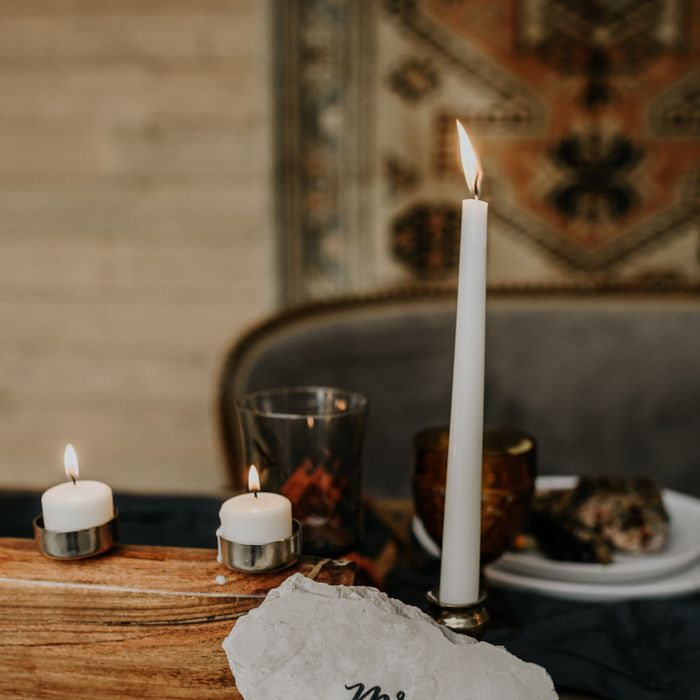 name card and candle