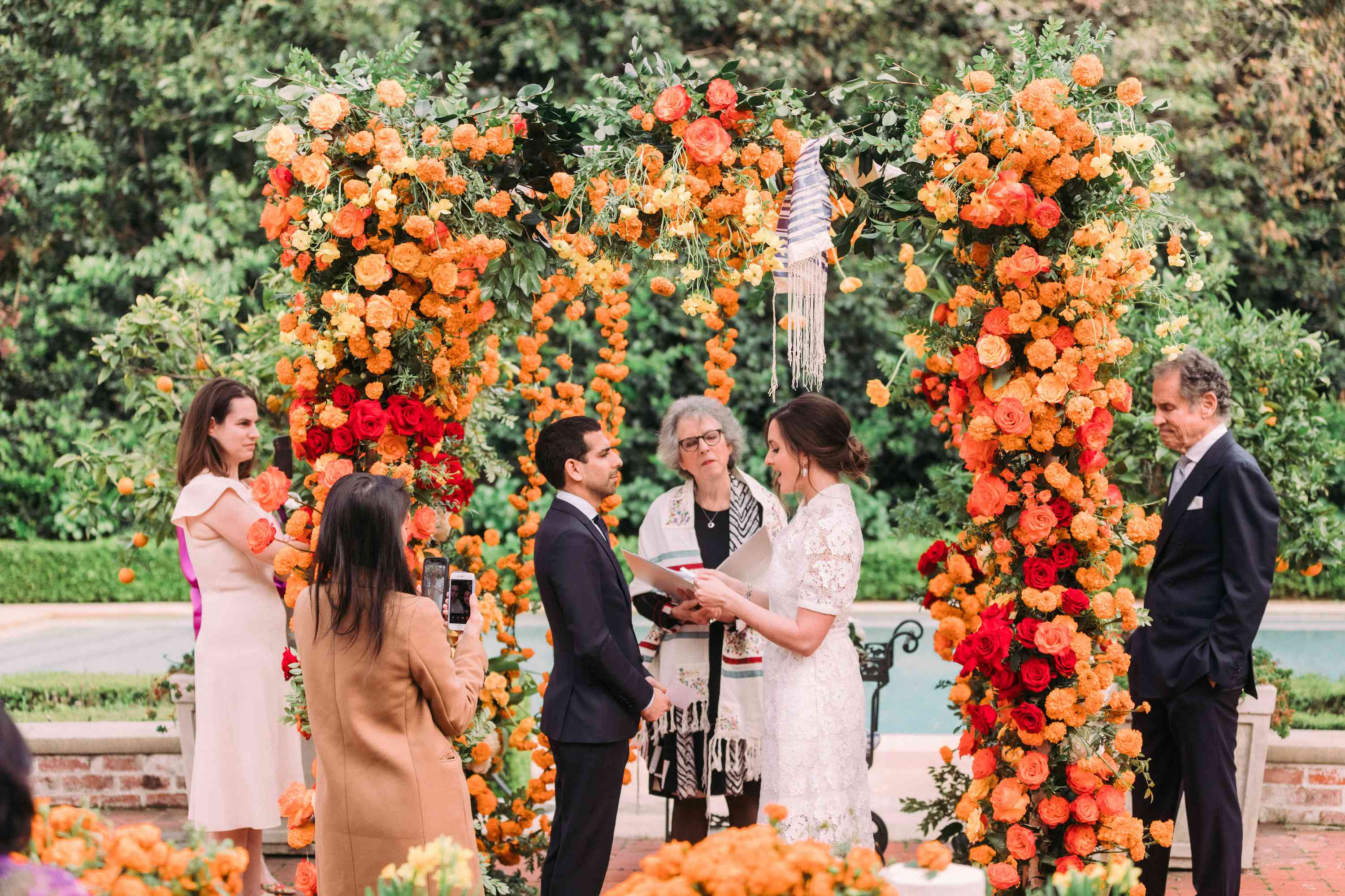 Vow exchange with floral altar