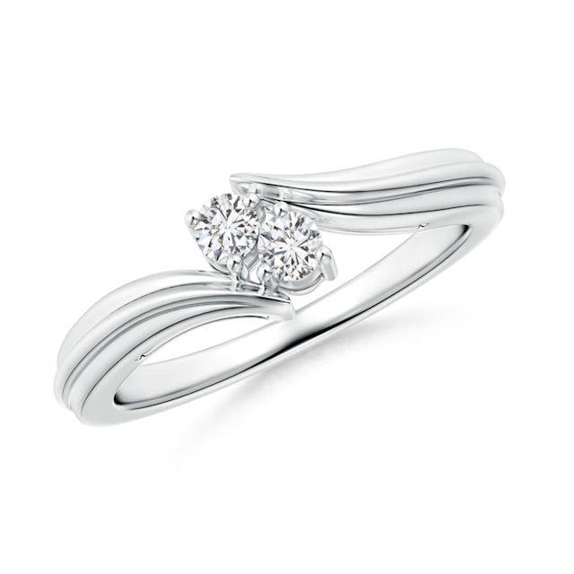 Angara Round Two Stone Diamond Bypass Ring