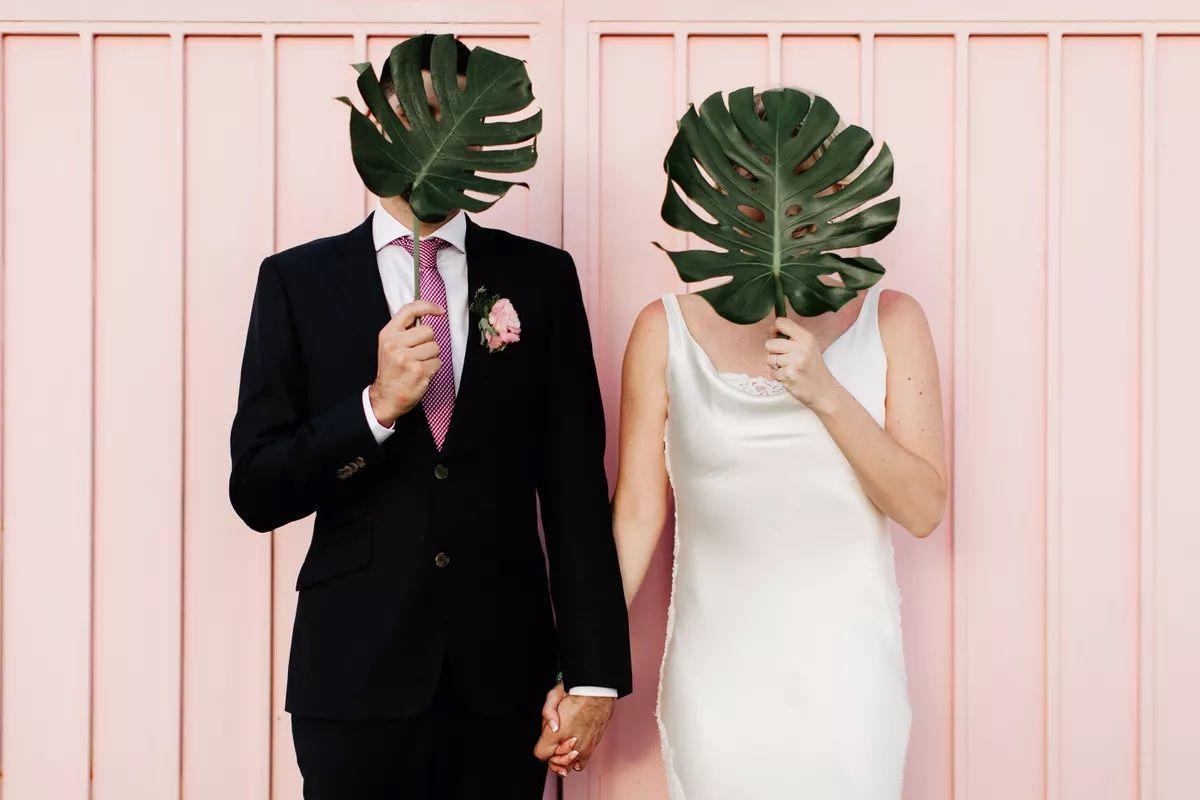 couple holding monstera leaves