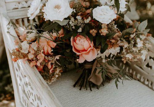 wedding bouquet on an antique chair