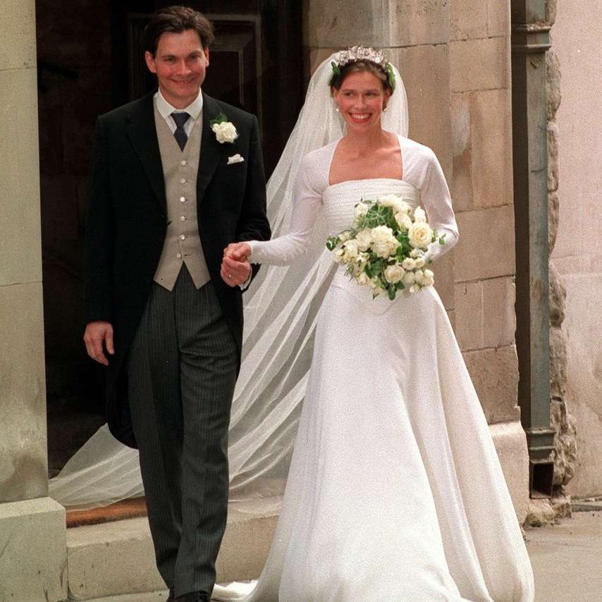 Lady Sarah Armstrong Jones with Daniel Chatto on their wedding day