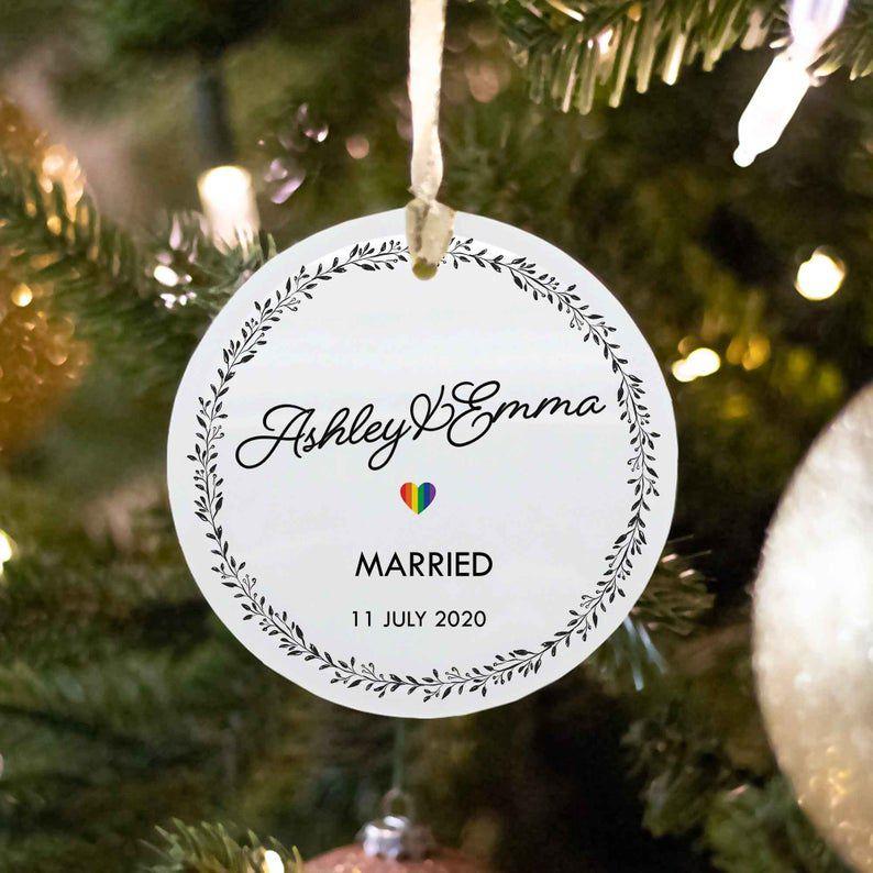 LGBTQ Same Sex Married Couple Custom Ornament