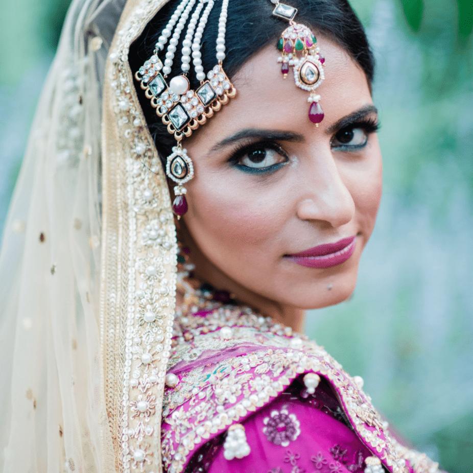 Pakistani bride with vibrant makeup