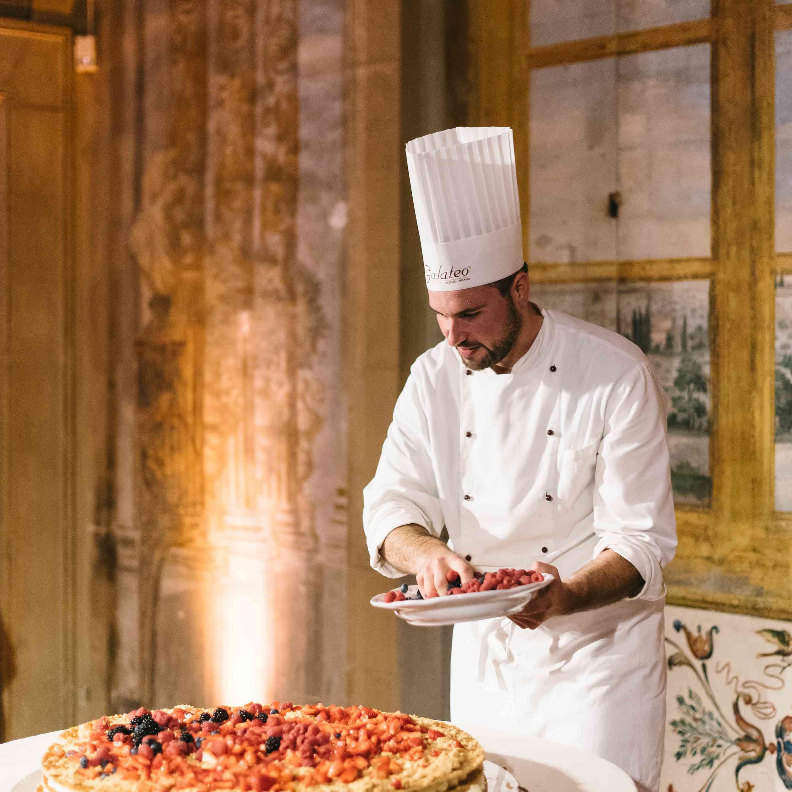 chef and wedding cake