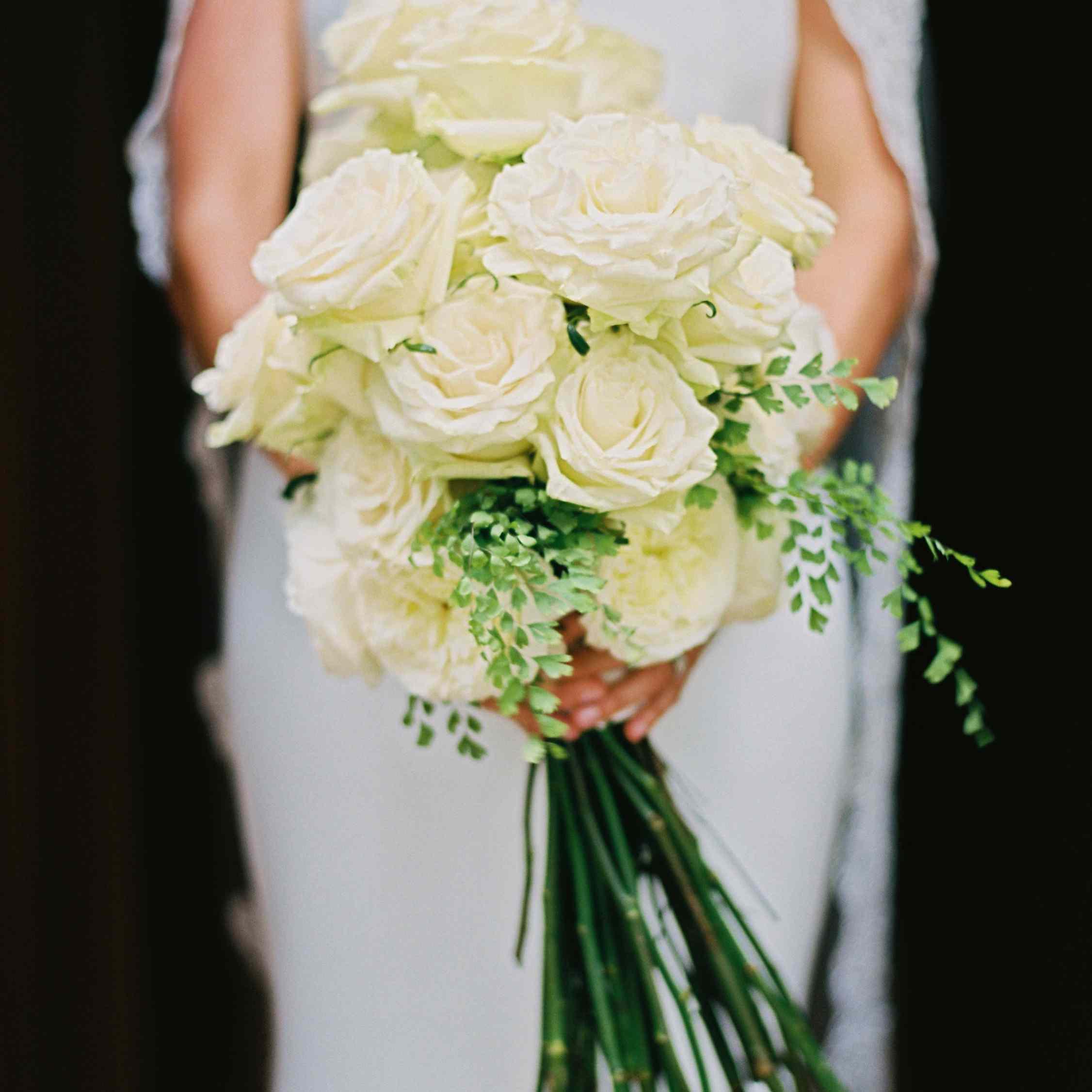 Soft white long stem rose bouquet