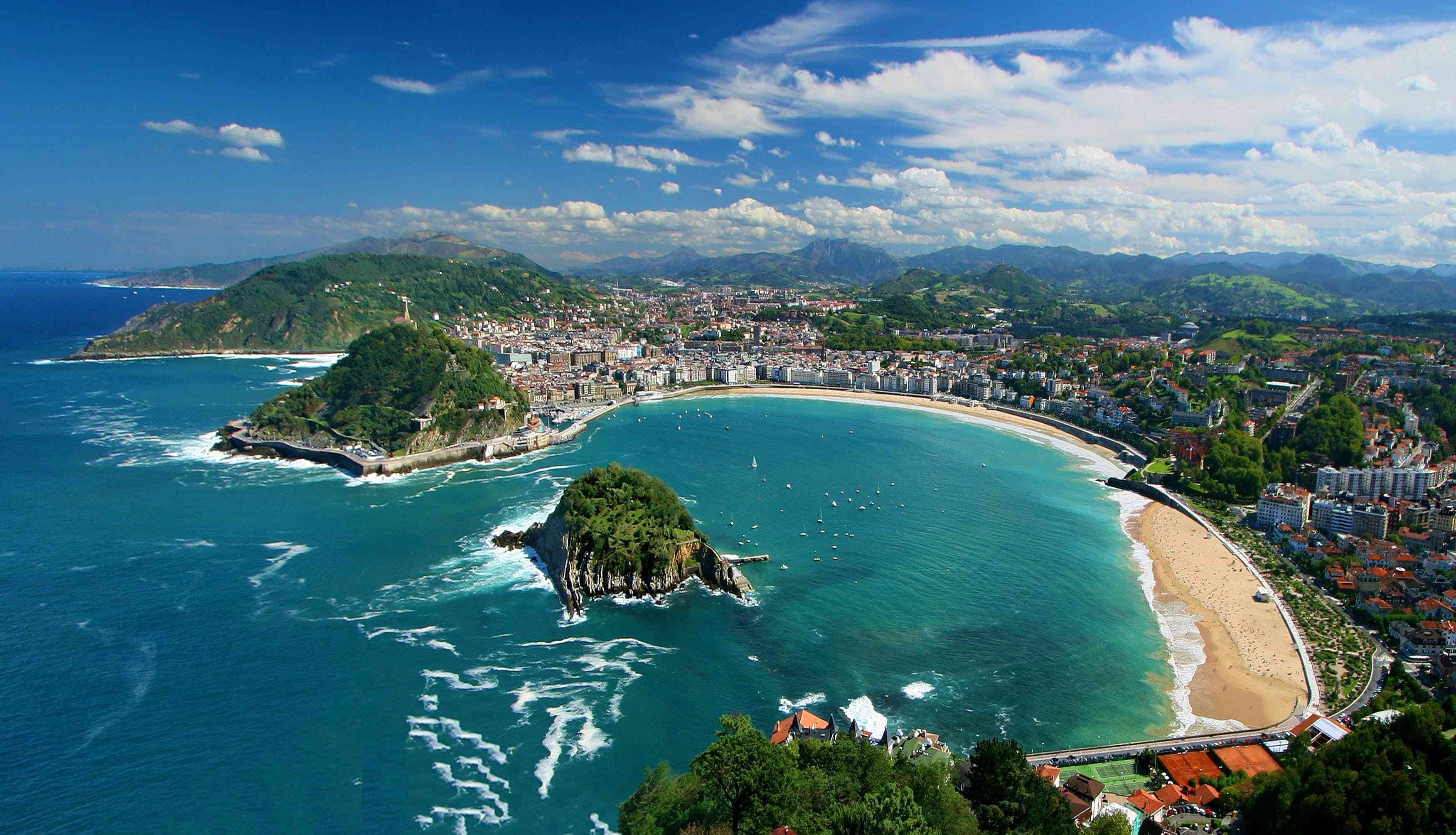 Aerial view of the beach and city of San Sebastian, Spain