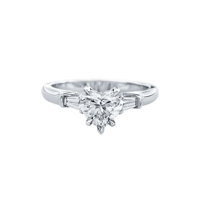 Harry Winston Heart-Shaped Engagement Ring with Tapered Baguette Side Stones