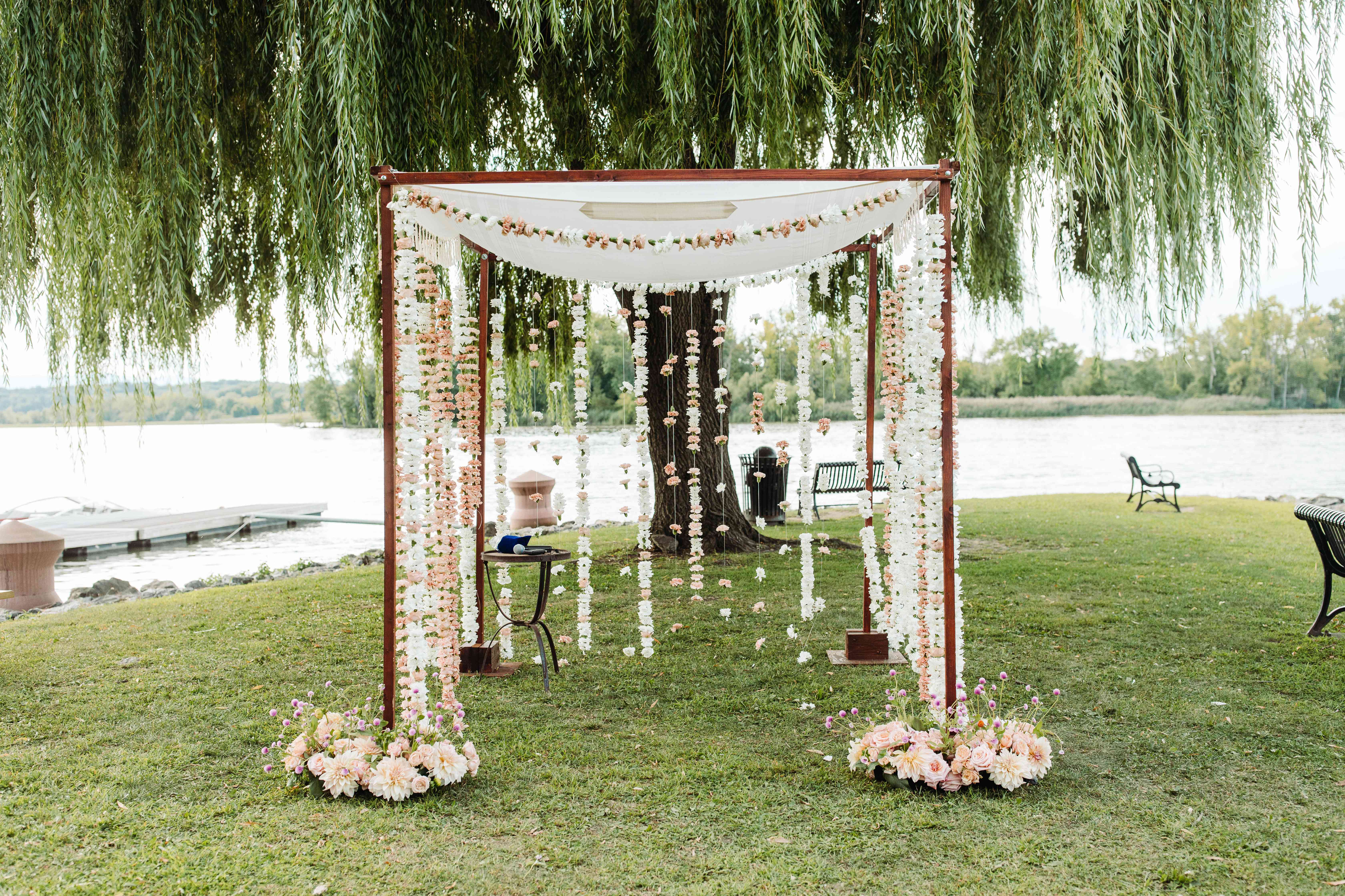 Chuppah with hanging floral garlands