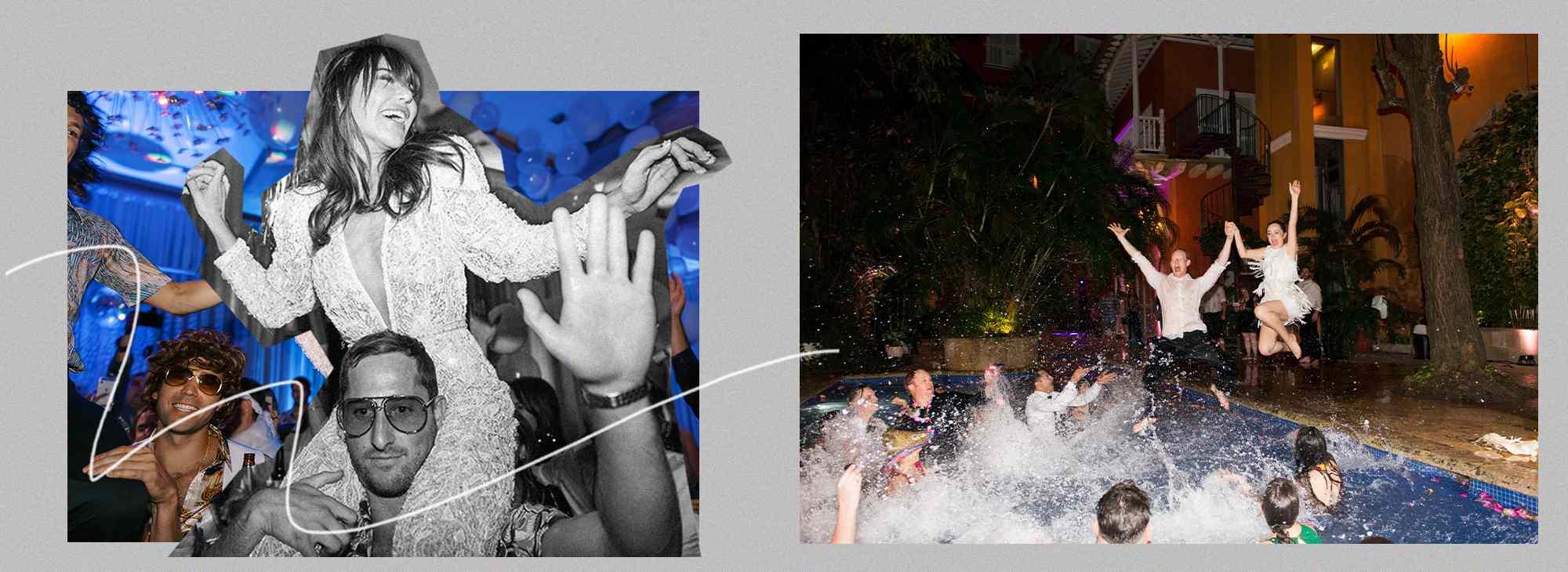 bride dancing at wedding, bride and groom jumping into pool
