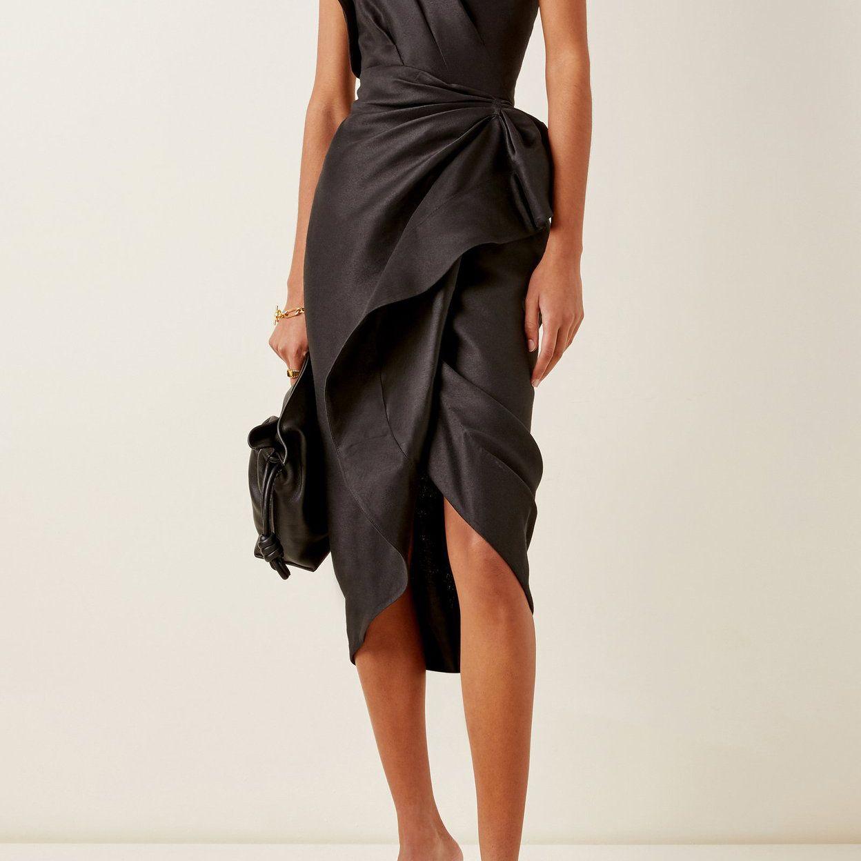 Acler Darcher Ruffle One-Shoulder Midi Dress