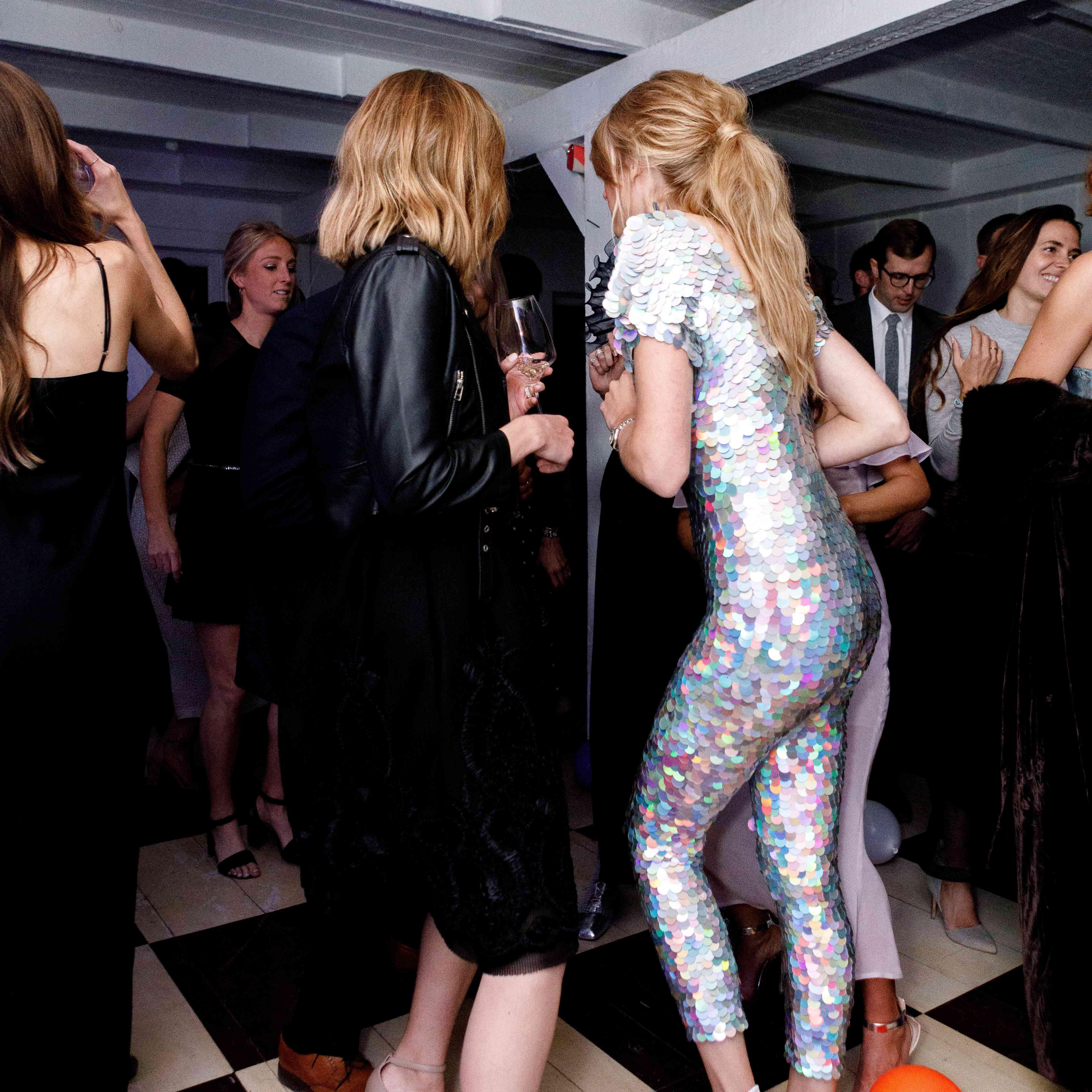 bride dancing sequin jumpsuit