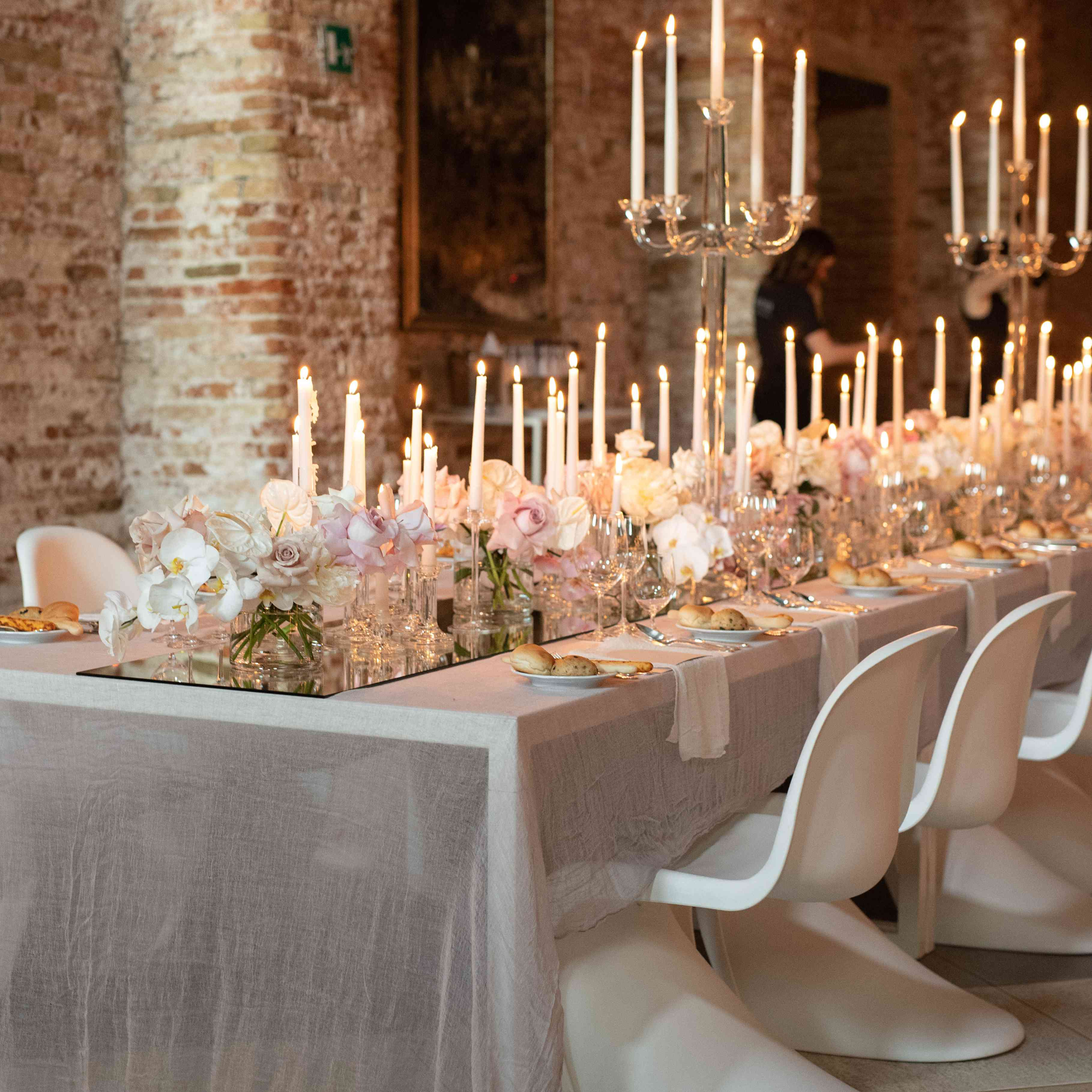 modern venice wedding, white reception seating