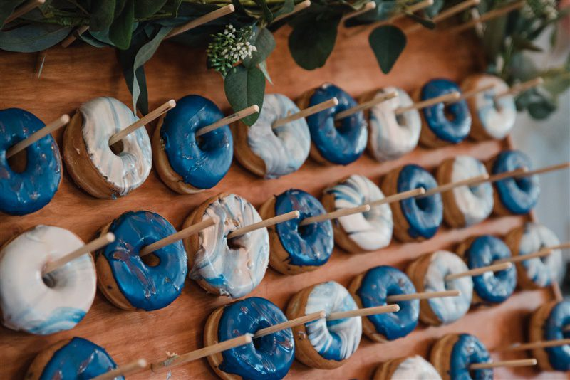 Blue Swirl Iced Donuts for a Brunch Wedding