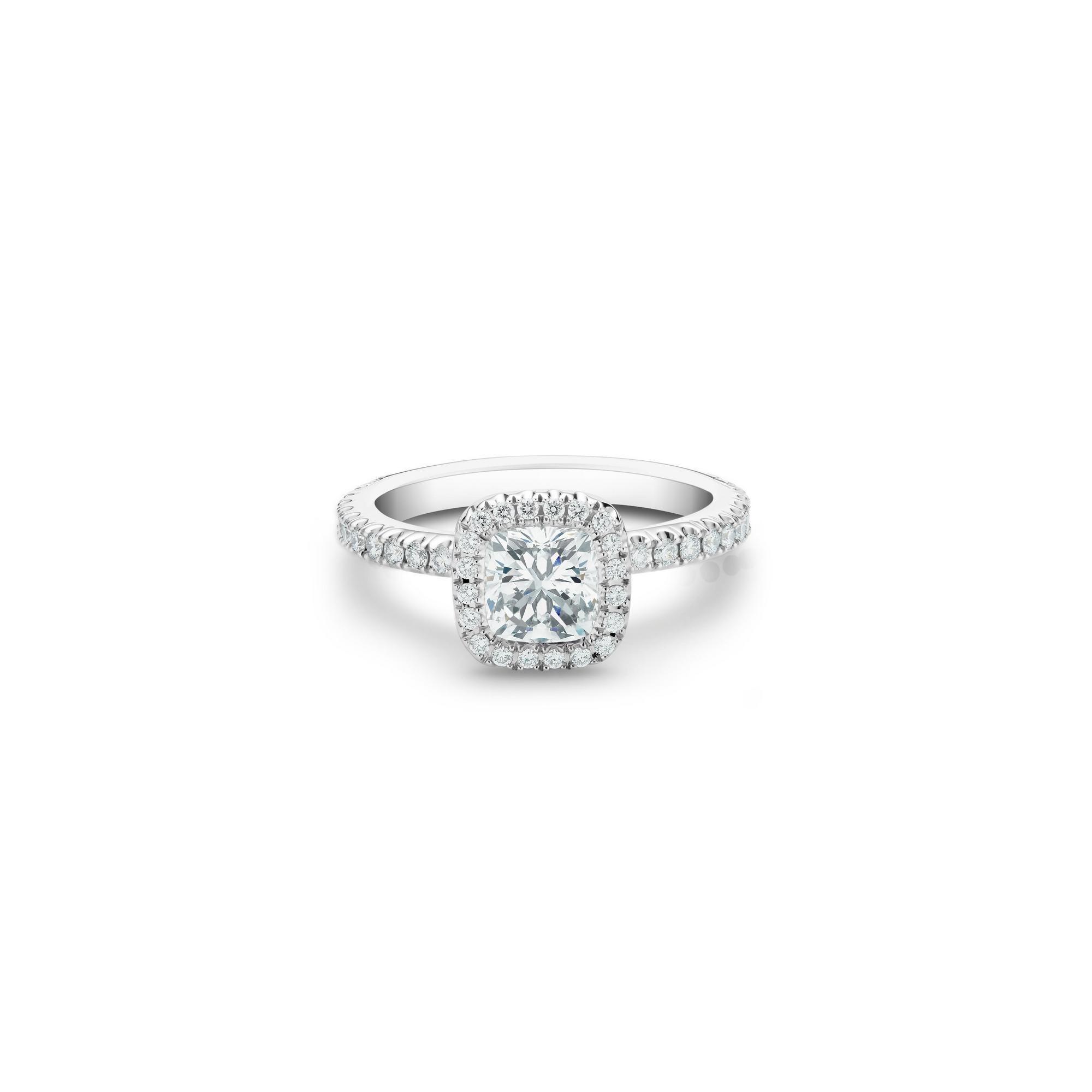 Aura cushion-cut diamond ring