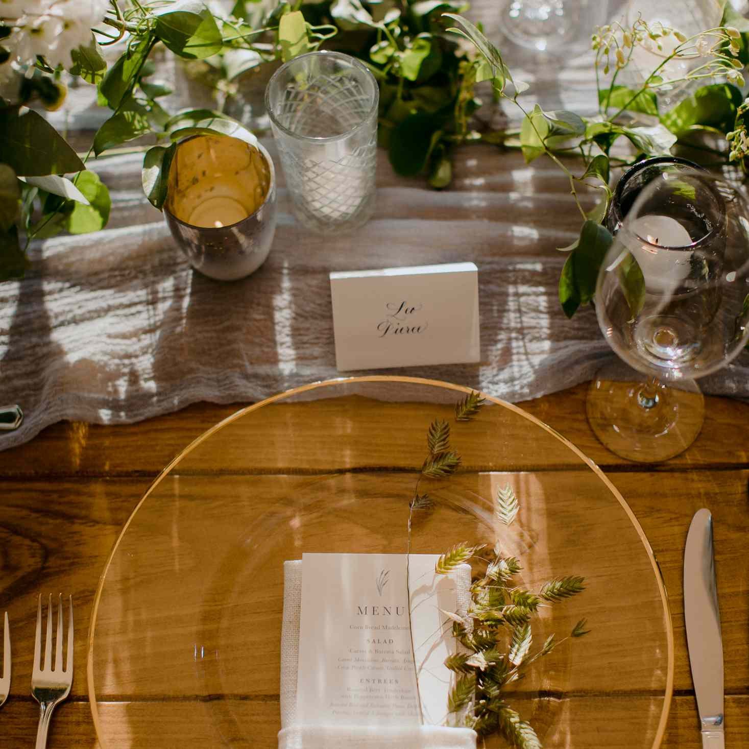 at-home rustic massachusetts wedding, gold table settings