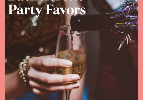 """""""Bachelorette Party Favors"""" in white text over woman holding glass of champagne"""