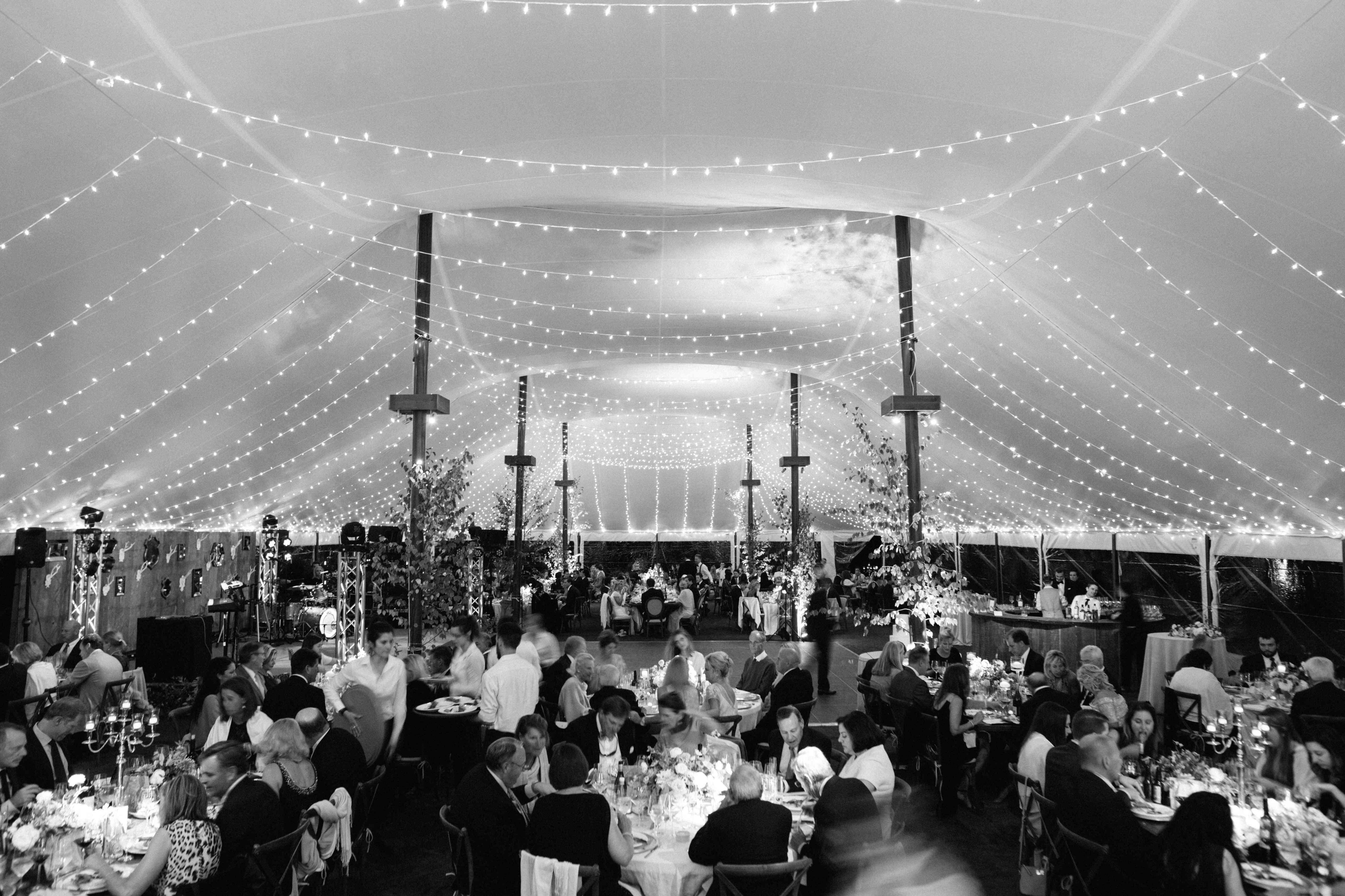 tent reception cafe lights
