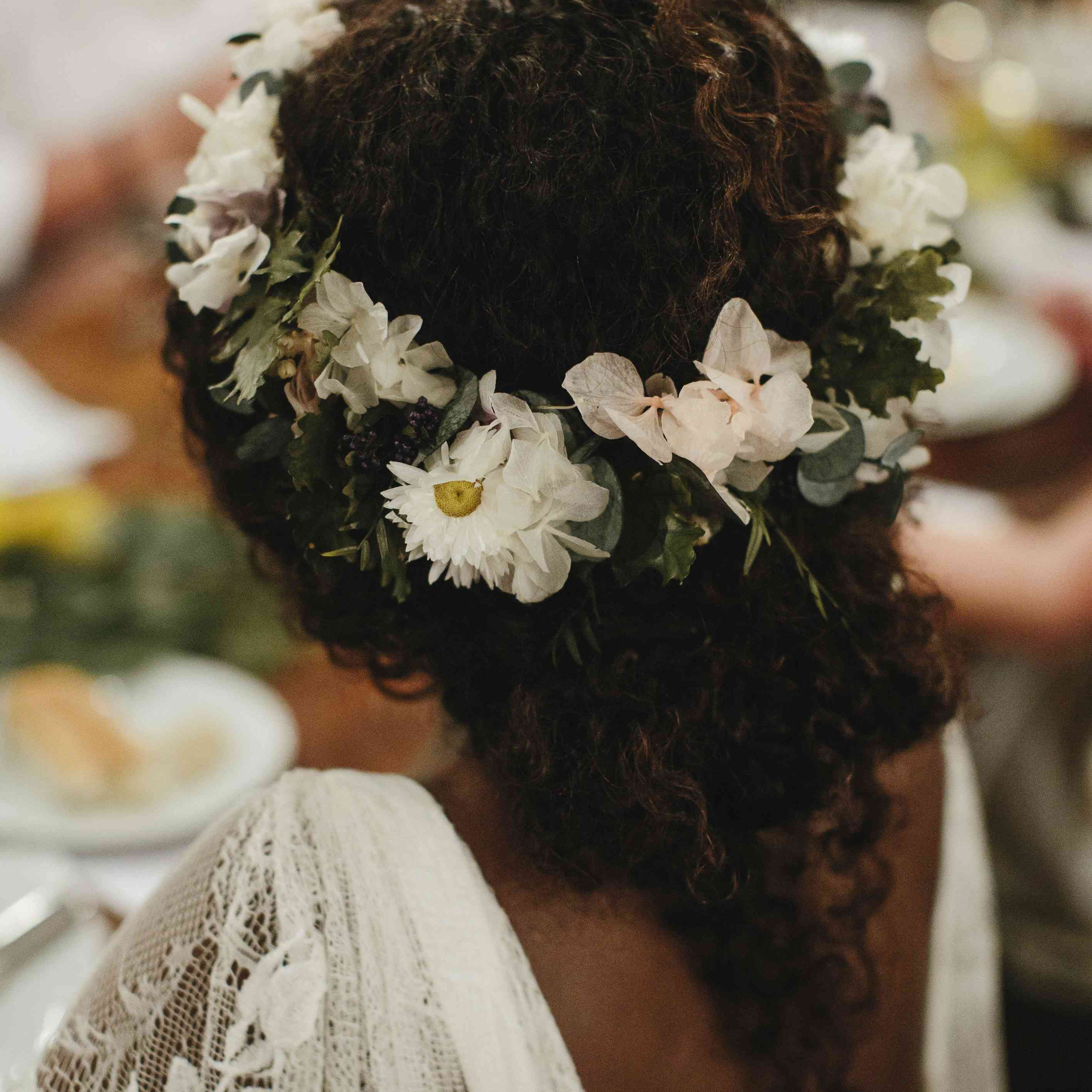 Messy Bun with White Flower Crown