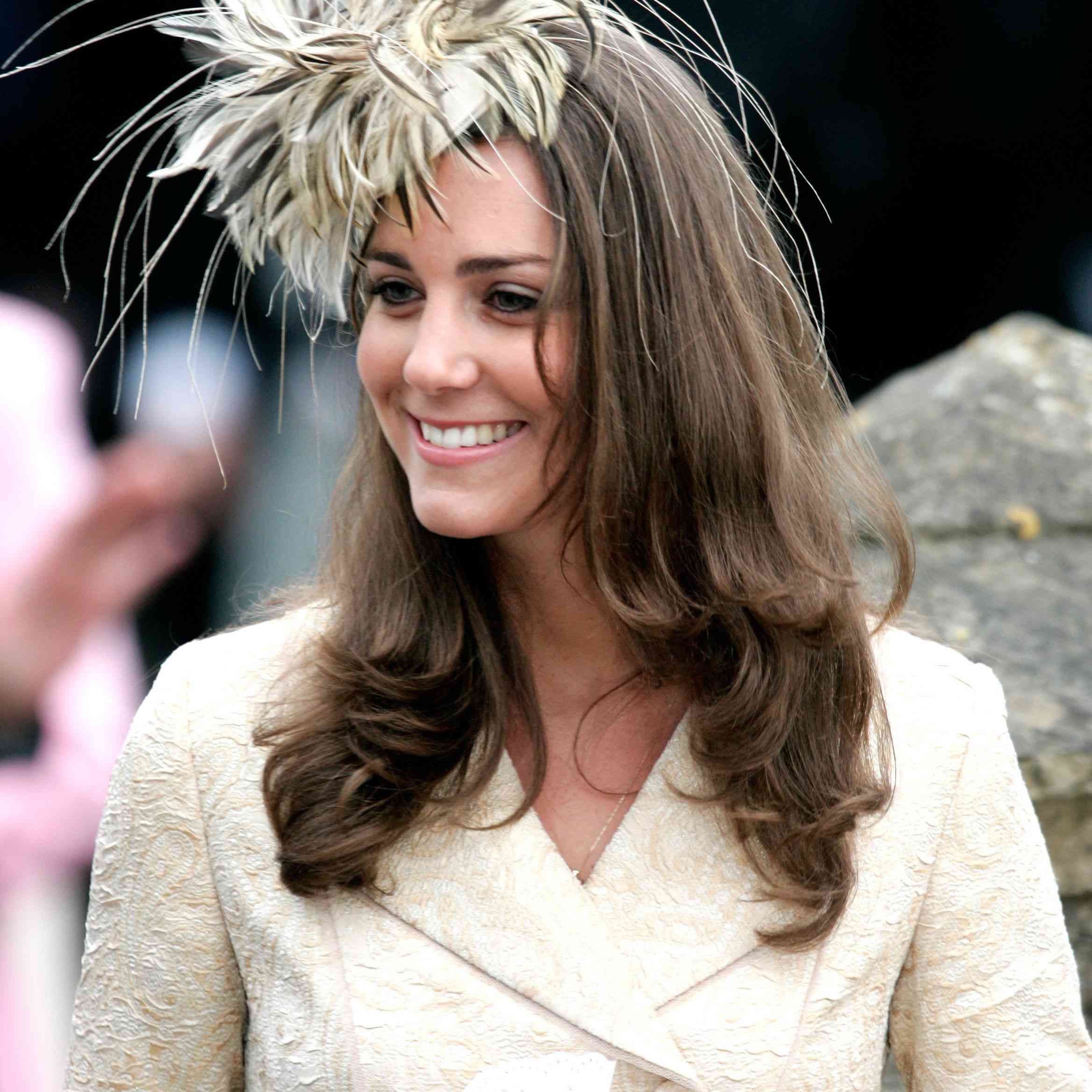Kate Middleton at the wedding of Laura Parker Bowles and Harry Lopes at St Cyriac's Church, Lacock